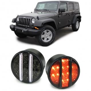 LED Klarglas Front Blinker Standlicht schwarz smoke für Jeep Wrangler JK ab 07