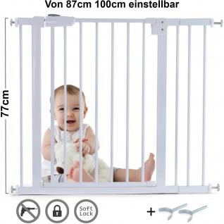 Absperrgitter Treppenschutzgitter Metall weiß + Y Halter 87 -100cm 77cm hoch