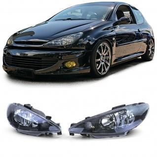 Klarglas Scheinwerfer H7 H7 schwarz für Peugeot 206 ab 98