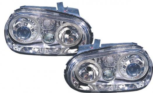 Klarglas Angel Eyes Scheinwerfer R32 Optik chrom für VW Golf 4 97-03