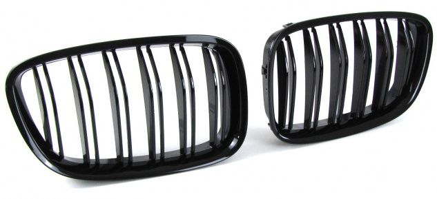 Sport Kühlergrill Nieren Doppelsteg schwarz glänzend für BMW 5er GT F07 ab 09