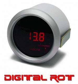Volt Anzeige Voltmeter Zusatz Instrument 52mm digital Magic rot
