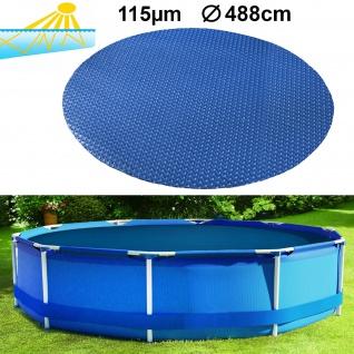 115µm Pool Solarplane Poolheizung Solarfolie Abdeckung Rund Blau 488cm