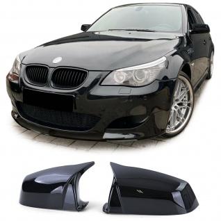 Spiegelkappen zum Austausch Sport Optik Schwarz Glanz für BMW 5er E60 E61 03-09
