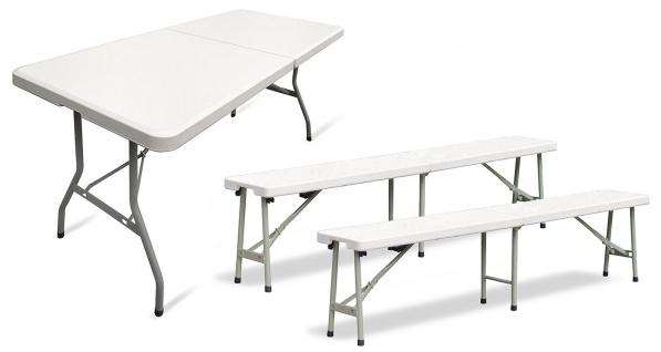 Balkon Garten Party Set aus 1x Tisch 2x Bänke klappbar creme Beige Hell