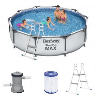 BESTWAY Steel Pro Max Frame Pool Set rund 305x76cm mit Filteranlage + Leiter