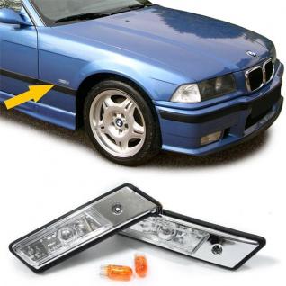 Klarglas Seitenblinker chrom für BMW 3ER E36 + E34 bis 1996