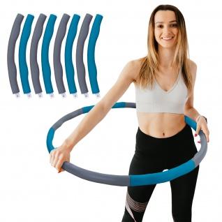 Hula Hoop Fitness Reifen 8 Teile gepolstert Durchmesser einstellbar Grau Blau
