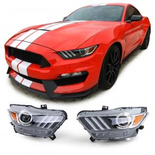 Bi Xenon Scheinwerfer Schwarz Chrom Paar für Ford Mustang 6 Coupe Cabrio 14-17