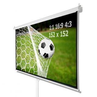 Beamer Projektor Heimkino Rollo Leinwand HDTV 152x152 CM für 1:1 4:3 16:9 - Vorschau 2