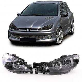 Angel Eyes Scheinwerfer mit LWR Schwarz Links Rechts für Peugeot 206 98-02