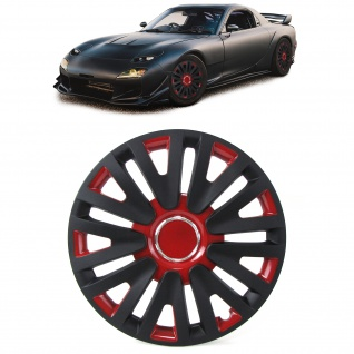 Radkappen Radzierblenden Tenzo-R X für Stahlfelgen 13 Zoll schwarz rot