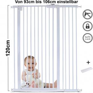 Absperrgitter Treppenschutzgitter Metall weiß + Rampe 93 - 106cm 120cm hoch