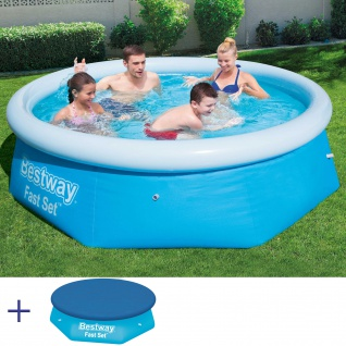BESTWAY Fast Set Pool Swimmingpool Rund Kinderbecken mit Cover 244x66cm