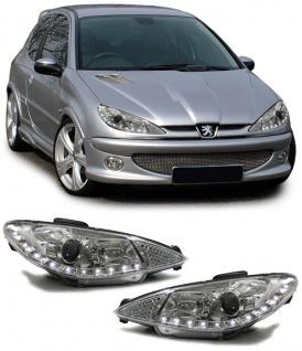 Klarglas Scheinwerfer mit LED Tagfahrlicht Optik chrom für Peugeot 206 98-05
