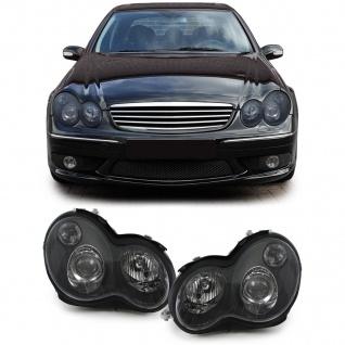 Klarglas Scheinwerfer H7 H7 schwarz für Mercedes C Klasse W203 00-06