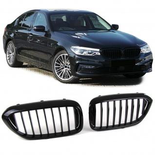 Sport Kühlergrill Nieren schwarz glänzend für BMW 5er Limousine G30 G38 ab 16