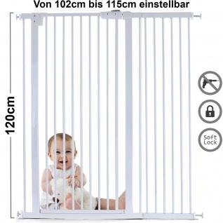 Absperrgitter Treppenschutzgitter Metall weiß 102 -115cm 120cm hoch