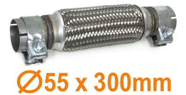 Auspuff Flexrohr Krümmer Hosenrohr universal 55 x 300mm Set mit 2 Schellen