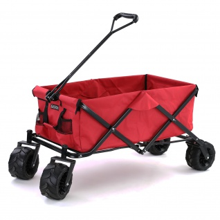 Garten Transport Strand Faltwagen Handwagen Bollerwagen klappbar bis 80kg Rot