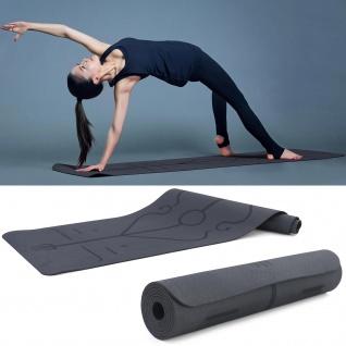TPE Yoga Matte mit Yoga Symbolen Gymnastikmatte Schwarz 182x61cm 7mm