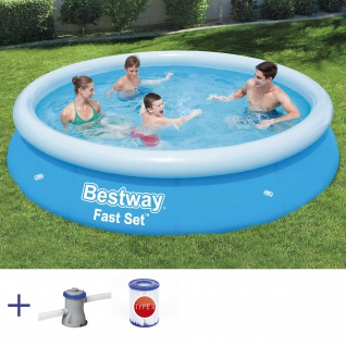 BESTWAY Fast Set Pool Swimmingpool Rundpool mit Filterpumpe Filter 457x84cm