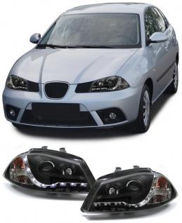 Scheinwerfer LED Tagfahrlicht Optik schwarz für Seat Ibiza 6L 02-08