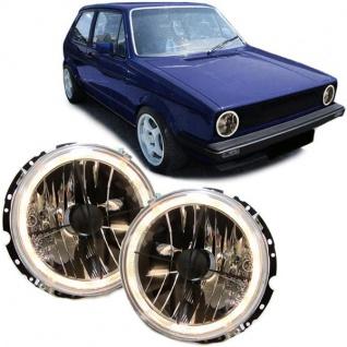 Klarglas Angel Eyes Scheinwerfer H4 mit Fadenkreuz schwarz für VW Golf 1 Cabrio - Vorschau