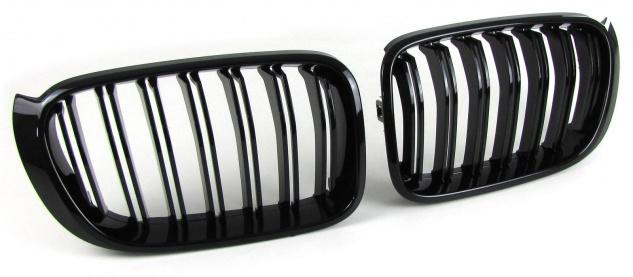 Sport Kühlergrill Nieren Doppelsteg schwarz glänzend für BMW X3 F25 X4 F26 ab 14