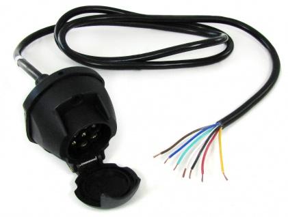 7-polige 12V KFZ Auto Anhänger Trailer Steckdose Anschluss mit 1.6 m Kabel
