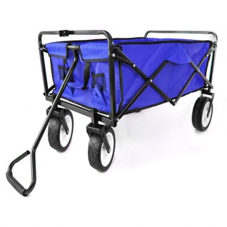Garten Transport Faltwagen Handwagen Bollerwagen klappbar bis 80kg blau - Vorschau 3
