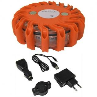 LED Warnleuchte Rundumleuchte Absicherung Warnblitzer rot mit Akku + Ladekabel
