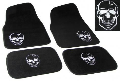Universal PKW KFZ Auto Fußmatten Totenkopf schwarz Set 4-teilig - Vorschau 1