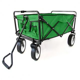 Garten Transport Faltwagen Handwagen Bollerwagen klappbar bis 80kg grün - Vorschau 3