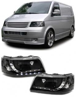 Scheinwerfer mit LED Tagfahrlicht Optik schwarz für VW Transporter Bus T5 03-09