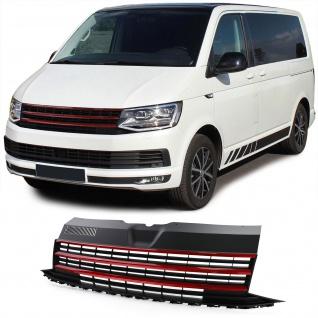 Sport Kühlergrill Frontgrill Schwarz Rot für VW T6 Bus Transporter ab 15