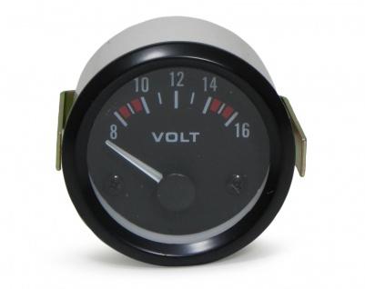 52mm Zusatz Instrument Youngtimer schwarz Voltmeter Volt Anzeige