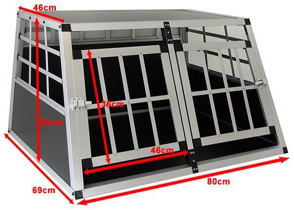 Alu Hunde Tier Reise Auto Transport Box mit Doppeltür XL 89x69x50cm - Vorschau 5