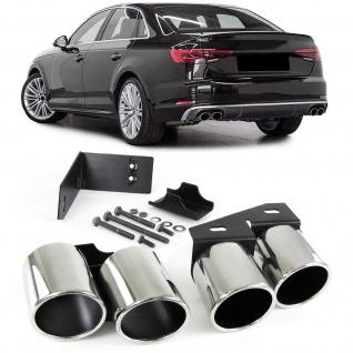 Sport Auspuff Endrohre 4 Rohr Blenden Edelstahl Paar für Audi A4 2.0 B9 ab 15