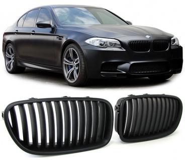 Sport Nieren Kühlergrill schwarz matt für BMW 5er F10 F11 Limousine Touring