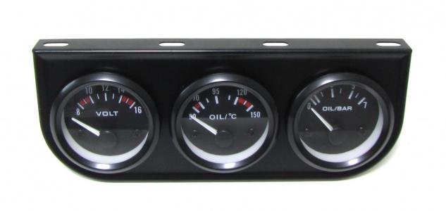 Zusatz Instrumente Youngtimer Kombi Öltemperatur Volt Öldruck schwarz