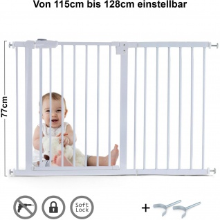 Absperrgitter Treppenschutzgitter Metall weiß + Y Halter 115 -128cm 77cm hoch
