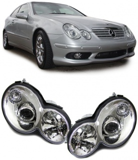 Klarglas Scheinwerfer chrom für Mercedes W203 CL203 Sportcoupe 04-07