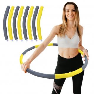 Hula Hoop Fitness Reifen 8 Teile gepolstert Durchmesser einstellbar Grau Gelb