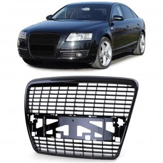 Sport Kühlergrill ohne Emblem Schwarz glanz für Audi A6 C6 Limousine Avant 04-08