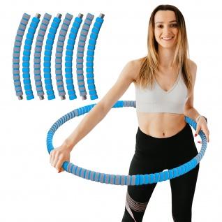 Hula Hoop Fitness Reifen Edelstahl 8 Teile gepolstert befüllbar Grau Blau