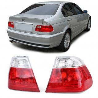 Rückleuchten Aussen Rot Weiß Klar Facelift Optik für BMW 3er E46 Limousine 98-01