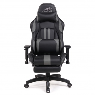 RAMROXX Gamingstuhl eSport Sportsitz Bürostuhl Schwarz Grau mit Fußstütze