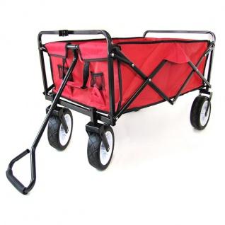 Garten Transport Faltwagen Handwagen Bollerwagen klappbar bis 80kg rot - Vorschau 3