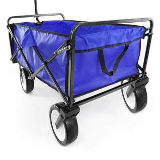 Garten Transport Faltwagen Handwagen Bollerwagen klappbar bis 80kg blau - Vorschau 4